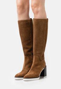 Furla - GRETA HIGH BOOT - High heeled boots - cognac/talco/nero - 0