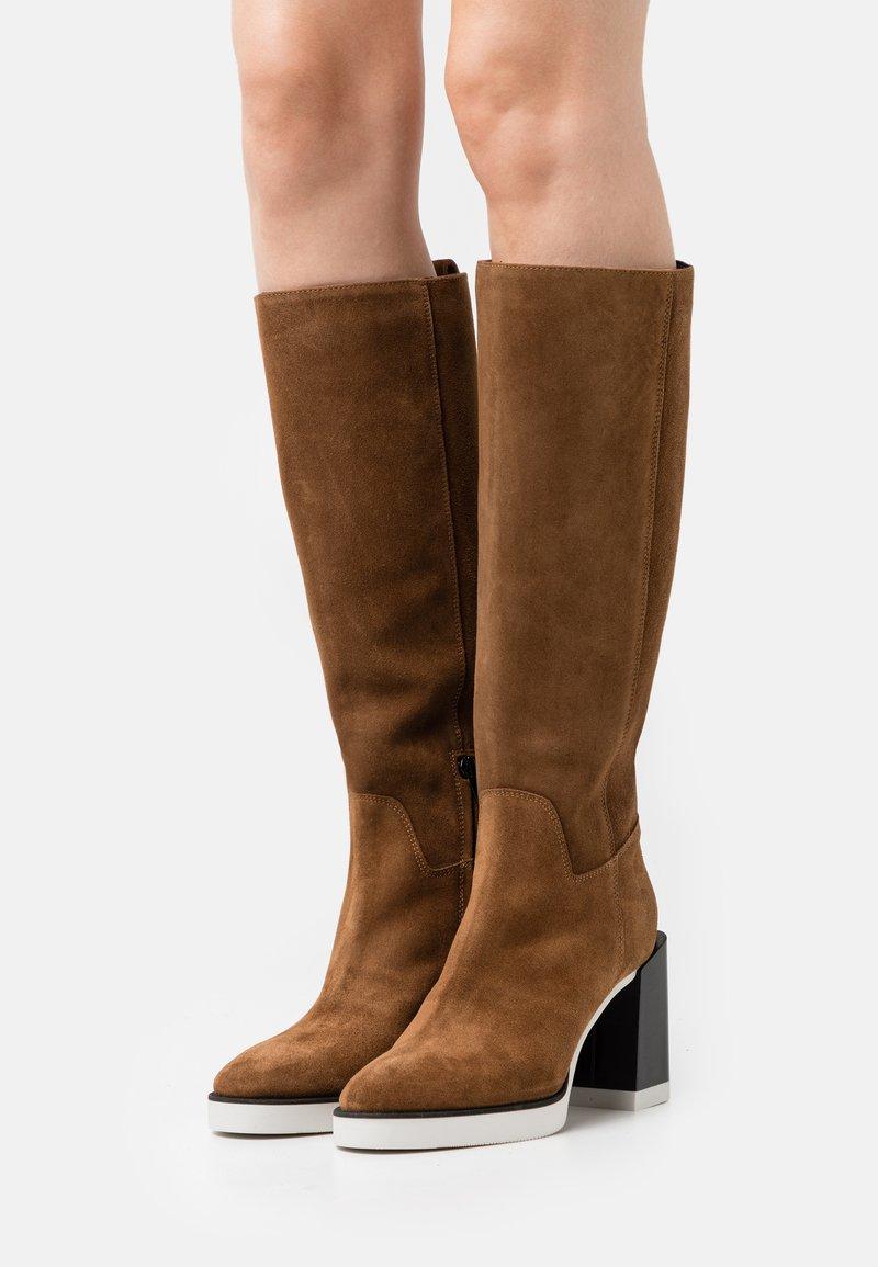 Furla - GRETA HIGH BOOT - High heeled boots - cognac/talco/nero