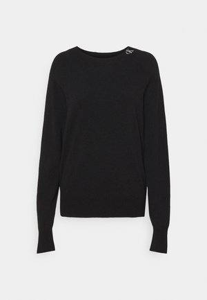 NECK LOGO FLUFFY SWEATER - Jumper - black