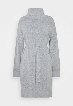 VIROLFIE TIE BELT DRESS - Neulemekko - light grey melange