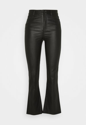 VICOMMIT COATED FLARED CROP - Trousers - black