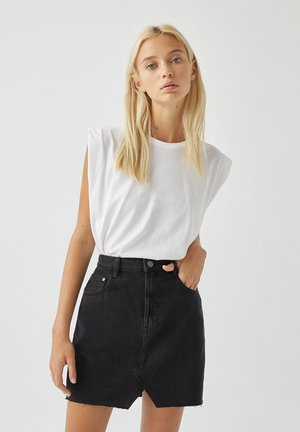 Denim skirt - mottled black