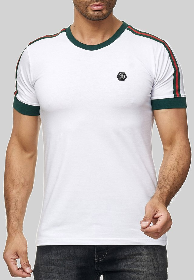 MIT STREIFEN - Print T-shirt - weiß