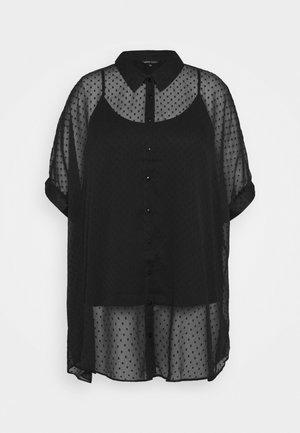 UMA SHIRT WITH DOBBY SPOT - Button-down blouse - black