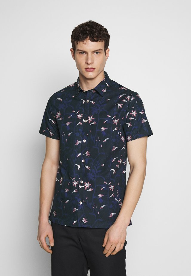 ISAAC TONAL FLORAL SHIRT - Chemise - mid blue
