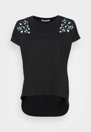 MANDALA DITSY FLOWER SHOULDER TEE - T-shirts med print - black
