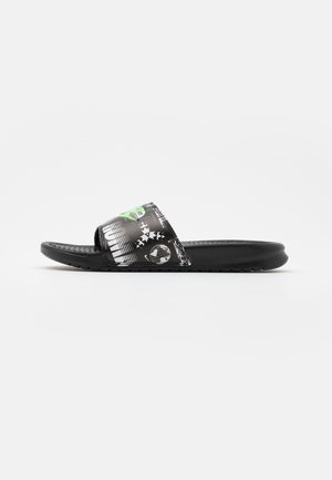 BENASSI JDI PRINT UNISEX - Matalakantaiset pistokkaat - black/green strike/black/white