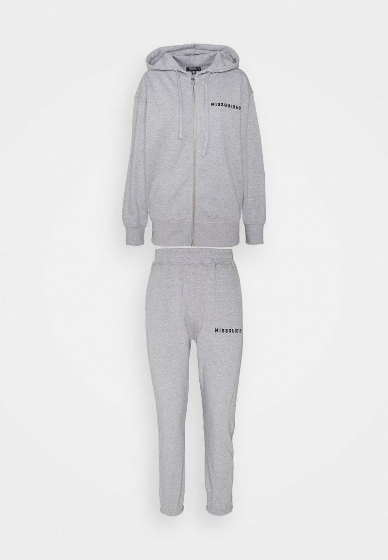 Missguided Petite - HOODIE AND JOGGER SET - Zip-up hoodie - grey