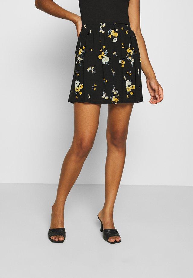 BASIC - Mesh mini skirt - Falda acampanada - black/multi-coloured
