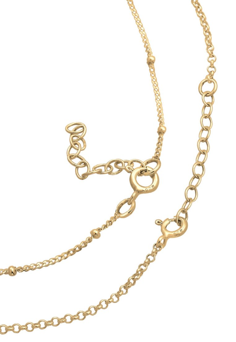 Elli Fussschmuck Duo Set Kugelkette Plättchen - Armband Gold-coloured/gold