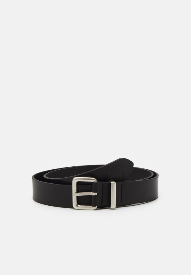 LOGO BELT - Cinturón - black/silver-coloured