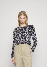 Vila - VIDOTTIES O NECK - Long sleeved top - navy blazer/ pink - 0