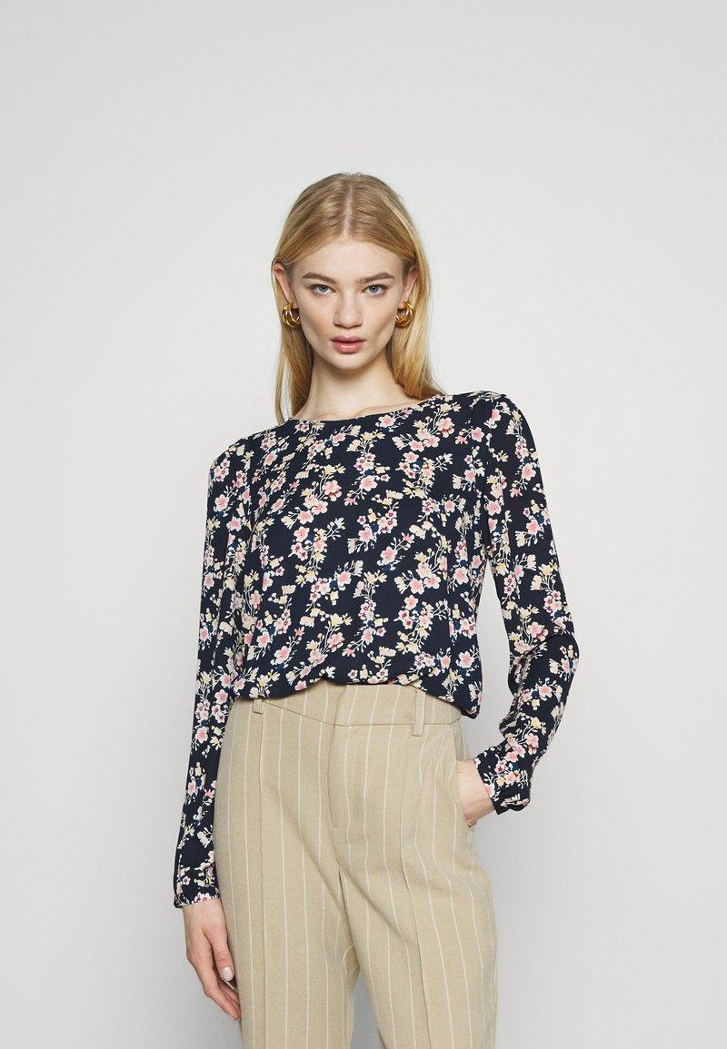 Vila - VIDOTTIES O NECK - Long sleeved top - navy blazer/ pink