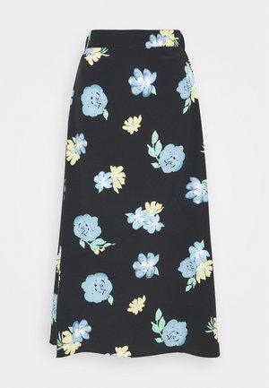 LADIES SKIRT PAINTERLY FLOWER - Pouzdrová sukně - black