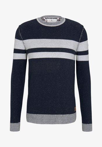 Jumper - navy white plated stripe