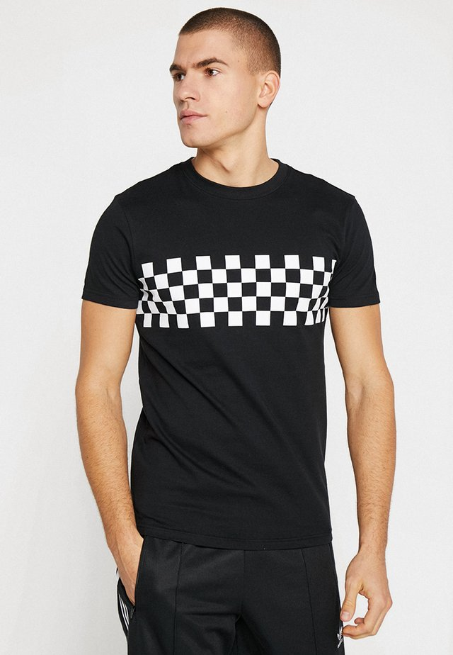 CHECK PANEL - Print T-shirt - black/white