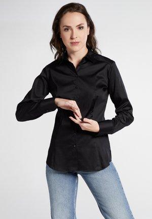 SLIM FIT - Button-down blouse - black