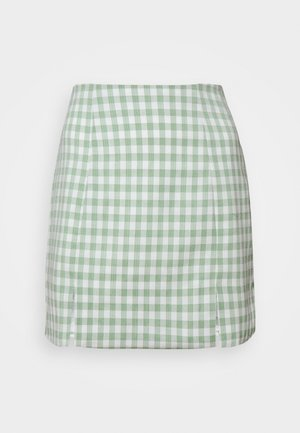 MAYA HIGH WAISTED MINI SKIRT WITH FRONT SIDE SPLITS - Mini skirt - mint gingham