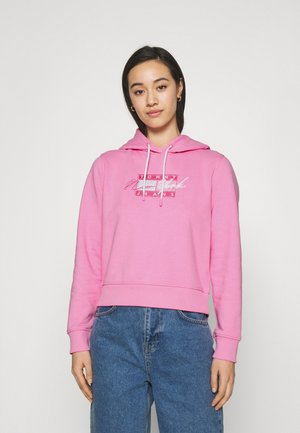 CROPPED FLAG HOODIE - Mikina - pink daisy