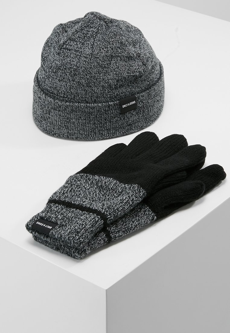 Only & Sons - ONSXBOX GLOVES BEANIE SET - Guantes - black