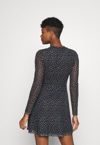 Even&Odd - FLARED ALL OVER MESH MINI DRESS - Day dress - black/white - 2