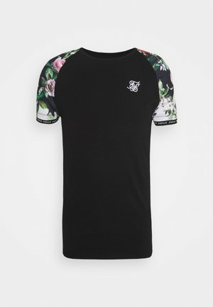 FLORAL PIXEL INSET TECH TEE - T-shirt con stampa - black
