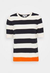 CHINTI & PARKER - JEANNE PUFF SLEEVE - T-shirt print - cream/navy/orange - 0