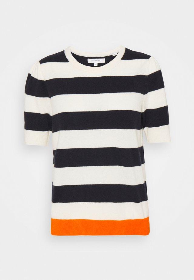 JEANNE PUFF SLEEVE - T-shirt imprimé - cream/navy/orange