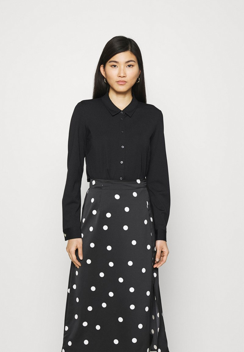 comma - LANGARM - Button-down blouse - black