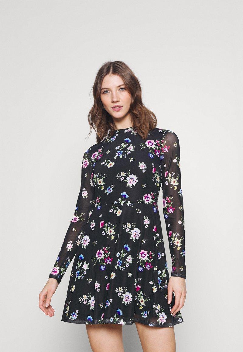 Even&Odd - FLARED ALL OVER MESH MINI DRESS - Day dress - black /blue/rose