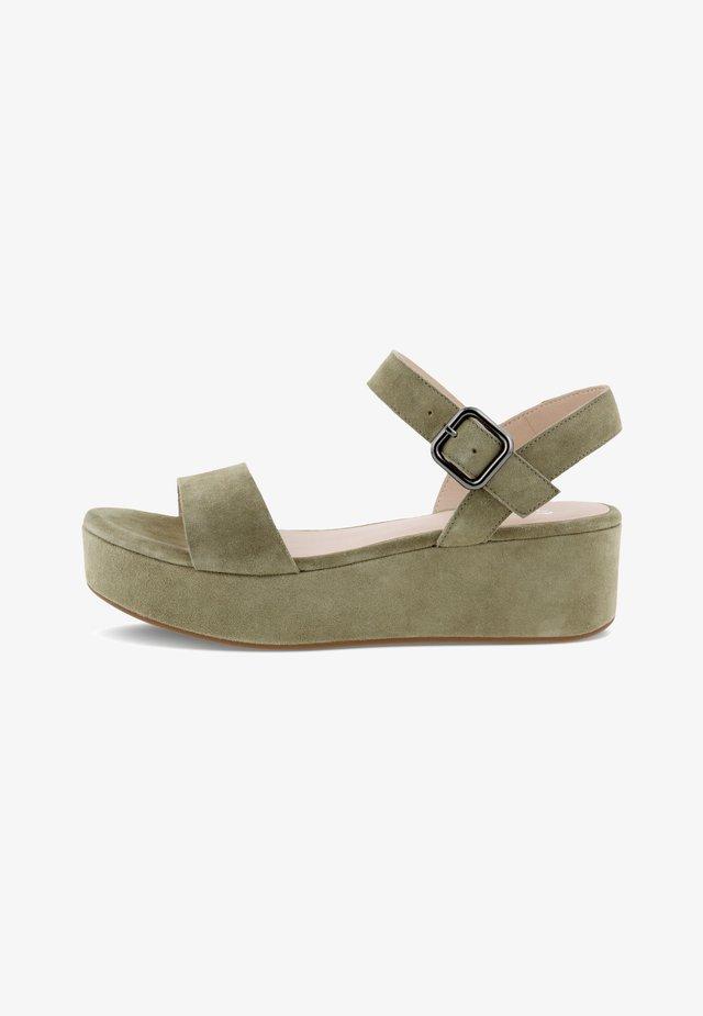 Sandalen met plateauzool - vetiver
