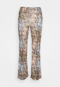 Missguided - SLINKY SNAKE PRINT FLARE TROUSER - Trousers - green - 3