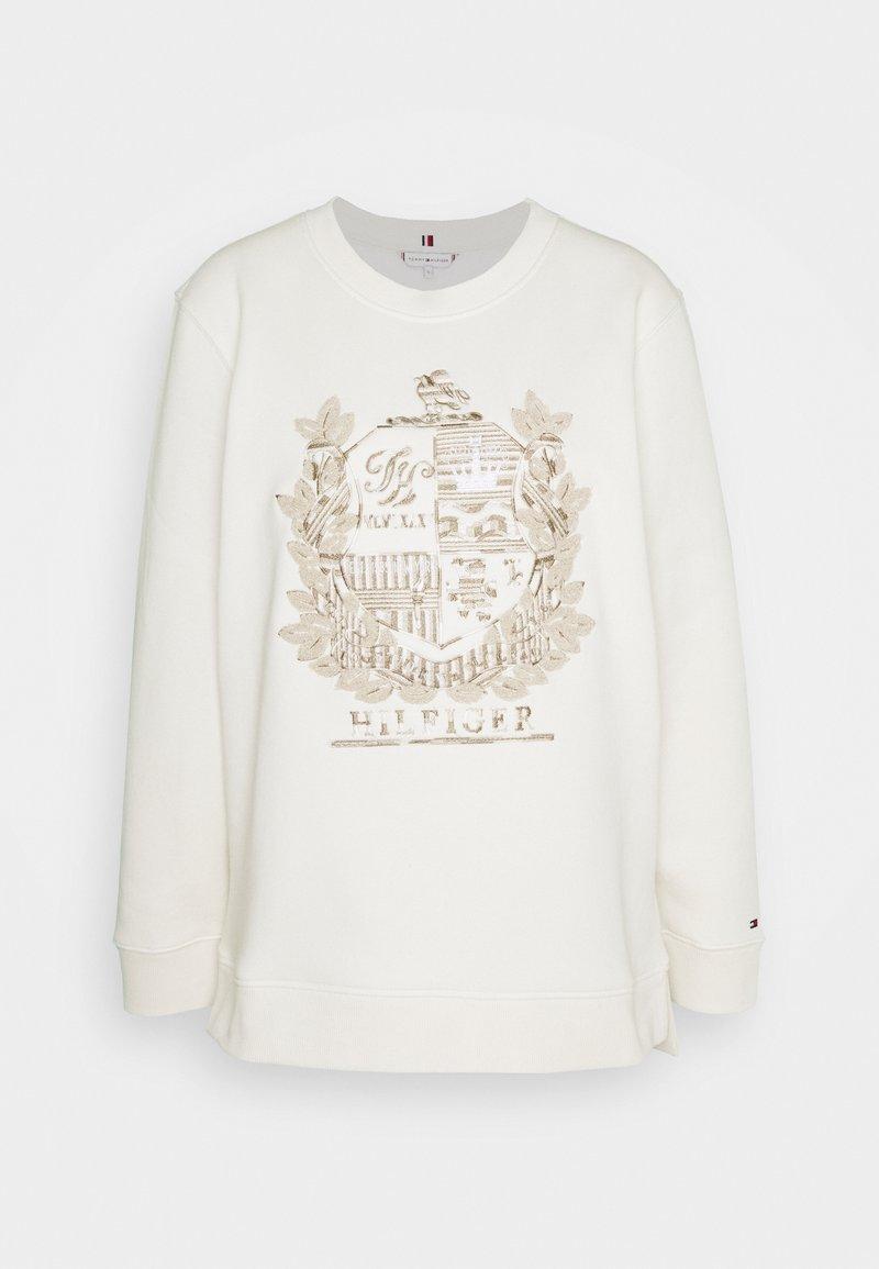 Tommy Hilfiger - REGULAR ROUND CREST LONGLINE - Sweatshirt - ecru