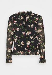 FLORAL DOBBY TIE NECK - Button-down blouse - black