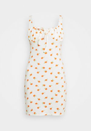 RUCHED BUST CUP MINI DRESS WITH WIDE STRAPS AND FRONT NECK - Kjole - white/orange/rose