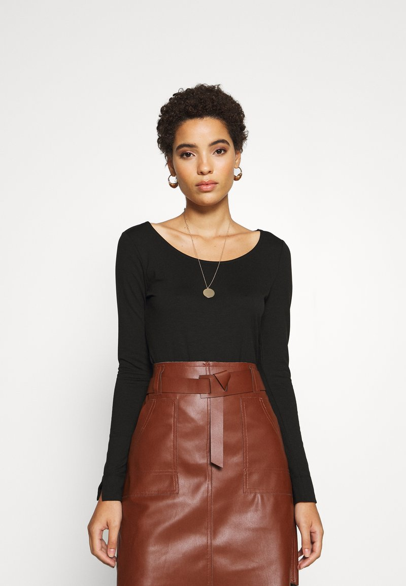 mine to five TOM TAILOR - ROUND NECK - Long sleeved top - deep black