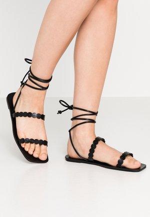 STRAP DETAIL ANKLE WRAP FLAT - Sandals - black