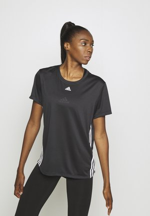 3 STRIPE TEE - Sports shirt - black/white