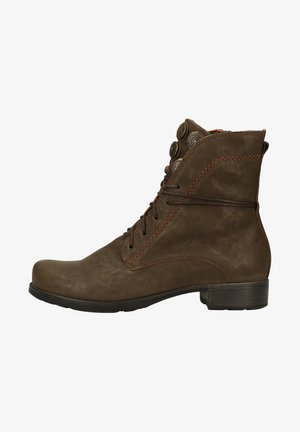 Lace-up ankle boots - oliv/kombi