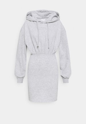 SHORT HOODED DRESS - Day dress - grey