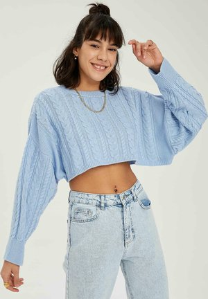 CROPPED - Long sleeved top - blue