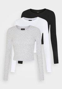 3 PACK - Pitkähihainen paita - black/white/light grey