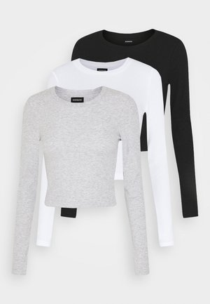3 PACK - Long sleeved top - black/white/light grey