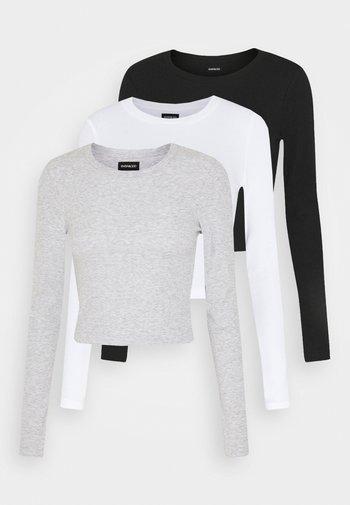 3 PACK - Long sleeved top - black/white/light grey