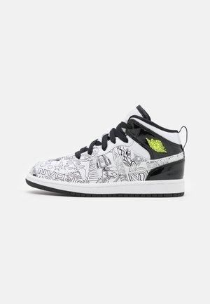 1 MID DIY UNISEX - Basketbalové boty - white/black/volt