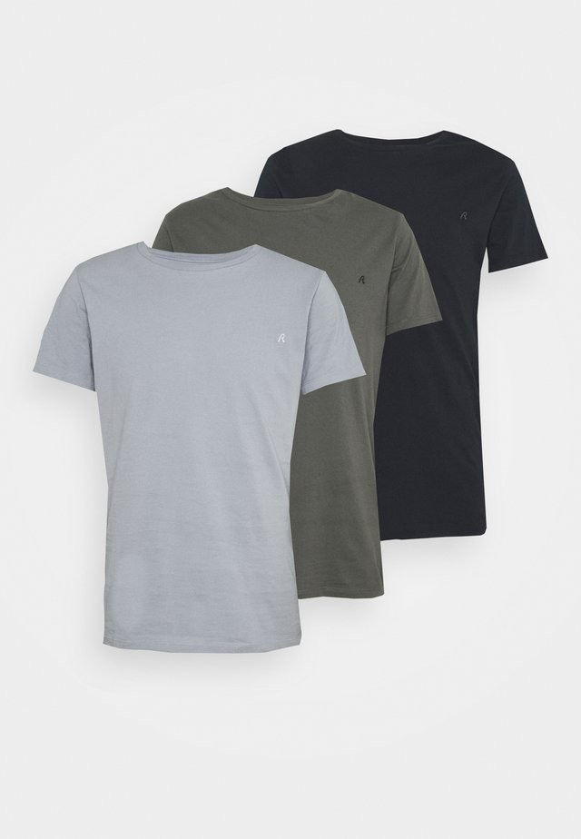 CREW TEE 3 PACK - T-shirt basic - dark blue/periwinkle/ash grey