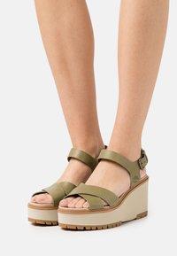 Timberland - KORALYN X STRAP - Platform sandals - olive - 0