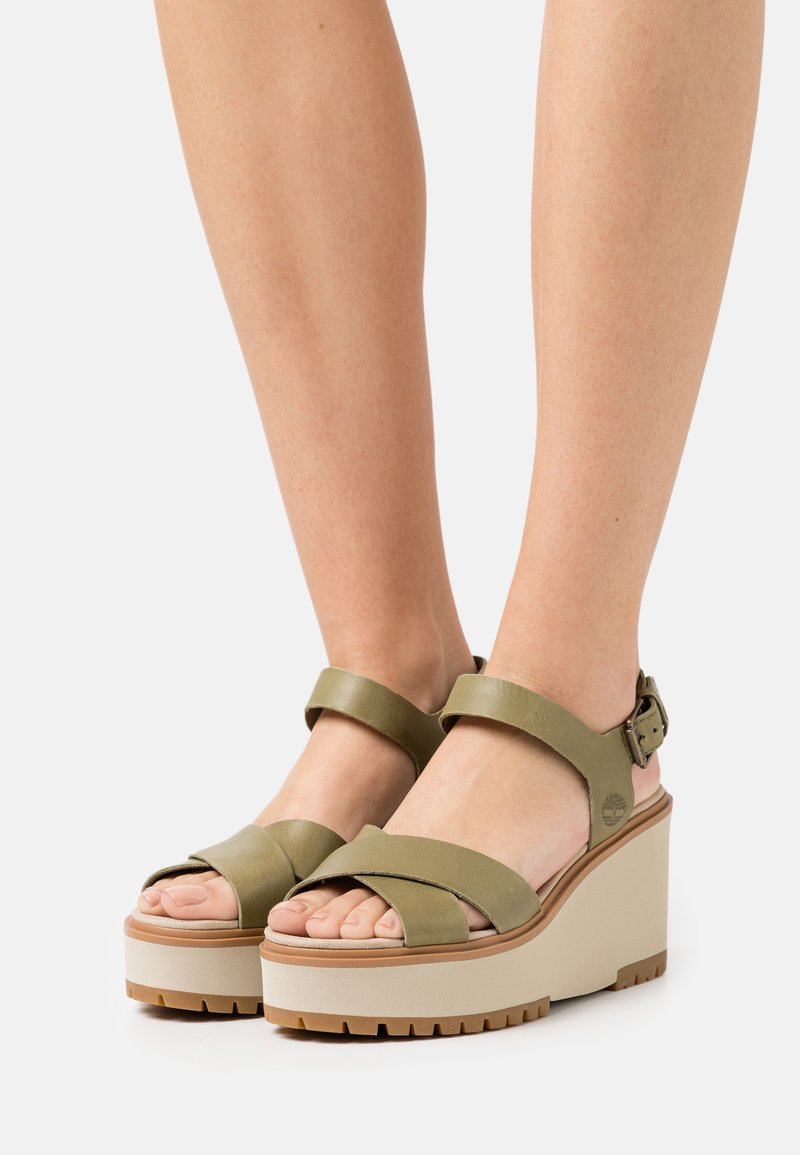 Timberland - KORALYN X STRAP - Platform sandals - olive