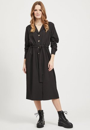 VILA COATIGAN BINDEGÜRTEL - Shirt dress - black