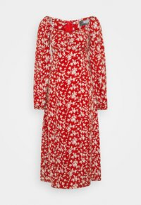 Missguided Tall - MILKMAID SHIRRED BUST MIDI FLORAL - Kjole - red - 0
